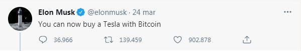 Tweet di Elon Musk che annuncia la possibilità di acquistare una Tesla con i Bitcoin